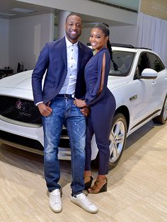 MIAMI, FL - JUNE Dwyane Wade and Gabrielle Union are seen as Dwyane Wade's launches new Jaguar XE at The Collection on June 2016 in Miami, Florida. (Photo by Johnny Louis/WireImage) Black Celebrity Couples, Black Love Couples, Matching Couples, Cute Couples, Black Celebrities, Celebs, New Jaguar, Jaguar Xe, Celebrities