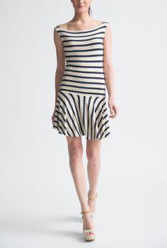 Nadia Tarr Big French Stripe Drop Waist Mini Dress