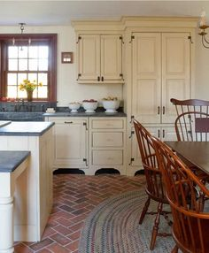 Designing A New Country Kitchen   Old House Online Wonderful Cabinets And  Hardware Brick Floor