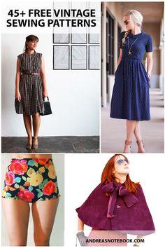 45 free vintage sewing patterns #diydresspattern