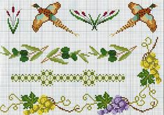 cross stitch borders with pheasants and white and red grapes