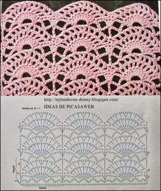 Pattern stitch for s Crochet Edging, Would be Great for shirt tails. This Pin was discovered by Mar 3 Crochet Stitches w/ diagrams. It is a website for handmade creations,with free patterns for croshet and knitting , in many techniques Crochet Borders, Crochet Diagram, Crochet Stitches Patterns, Crochet Chart, Love Crochet, Crochet Motif, Crochet Designs, Knitting Stitches, Crochet Lace