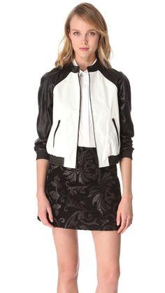 Great jacket! alice + olivia Raglan Sleeve Leather Jacket