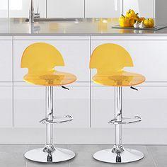 Shop for Adeco Yellow Acrylic Hydraulic Lift Adjustable Barstools (Set of 2)…