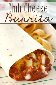 The perfect addition to game day - or a weeknight dinner! These Chili Cheese Burritos are full of a quick and easy homemade beefy chili filling, topped with plenty of Cheddar cheese and fresh chopped onions!