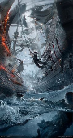 Creative Concept Art by Anastasia Bulgakova . This one reminds me of Pirates of the Caribbean Digital Art Illustration, Illustration Inspiration, Pirate Illustration, Nature Illustration, Illustration Artists, Arte Assassins Creed, Pirate Art, Pirate Ships, Pirate Crafts