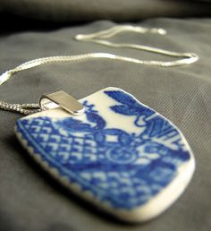 Blue Willow sea pottery necklace- artisan beach glass jewelry by Sea Glass Designs. Wire Wrapped Jewelry, Beaded Jewelry, Handmade Jewelry, Jewellery, Sea Glass Necklace, Sea Glass Jewelry, Metal Forming, Blue And White China, Porcelain Jewelry