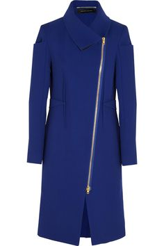 ROLAND MOURET Drymus wool-crepe coat -    Royal-blue is a key shade in Roland Mouret's Pre-Fall '14 collection. The sleeves and pouch pockets of this 'Drymus' coat are decorated with the designer's signature origami folds, while the darts through the front and back create a precise fit. It's unlined for a supple feel, too.