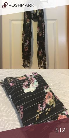 NWOT Flower Scarf Black striped scarf with purple flower print and fringe on the ends. NWOT. Accessories Scarves & Wraps