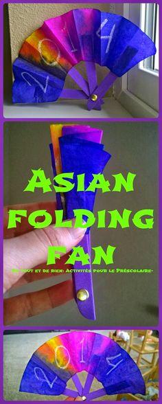 De tout et de rien: Activités pour le Préscolaire: Asian folding fan craft with coffee filter for the chinese New Year - Bricolage d'évantail pliant avec un filtre à café pour le Nouvel An chinois