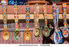 VORONET, ROMANIA - AUGUST Traditional wooden spoons from Bucovina, Romania with romanian writing on, sold at local market near Monastery Voronet - stock photo Wooden Spoon Crafts, Wooden Spoons, Folk Art Flowers, Flower Art, Traditional Paintings, Traditional Art, Indian Diy, Painted Spoons, Pottery Painting