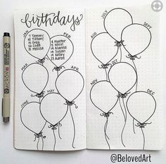 Bullet Journal Collection Ideas - The Best Ones! - Slightly Sorted Bullet journal collection ideas birthday balloons Bullet Journal Collection Ideas - The Best Ones! - Slightly Sorted Bullet journal collection ideas birthday balloons Bullet Journal 2020, Bullet Journal Aesthetic, Bullet Journal Notebook, Bullet Journal Ideas Pages, Bullet Journal Spread, Bullet Journal Inspo, Journal Pages, Bullet Journal Birthday Page, Bullet Journal Events