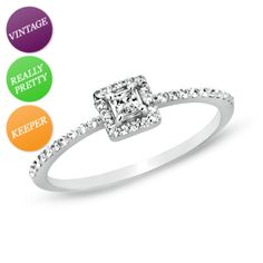 I've tagged a product on Zales: 1/4 CT. T.W. Princess-Cut Diamond Framed Promise Ring in 10K White Gold