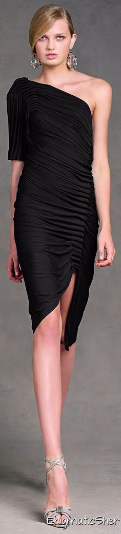 Donna Karan Pre Spring 2013 black one shoulder dress women fashion outfit clothing style apparel @roressclothes closet ideas