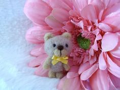 Needle felted miniature Bear toy so small and by LoveableTreasures, $23.00