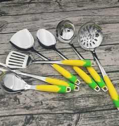 Newet Design colorful cooking tools stainless steel kitchenware with plastic handle Stainless Steel Cutlery, Cooking Tools, Measuring Spoons, Kitchenware, Handle, Plastic, Colorful, Design, Diy Kitchen Appliances