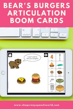These hamburger themed speech therapy digital task cards on the BOOM Learning website target articulation of 22 target sounds including: B, D, F, G, H, J, K, L, L blends, M, N, P, initial R, vocalic R, R blends, S, S blends, T, V, CH, SH, voiceless TH. To play, you build bear's burgers by dragging the toppings to the buns. Then, practice the words underneath with your best speech. Once you've finished practicing, hit next to feed the bear it's burgers!