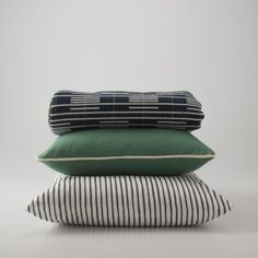 all about stripes | Signal Stripe Throw, Green Classic Piped Throw Pillow, Painterly Stripe Pillow Case | Schoolhouse Electric & Supply Co.