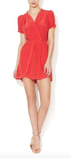 Maje Orange 'Abolir' Silk Puff Sleeve Dress in Poppy