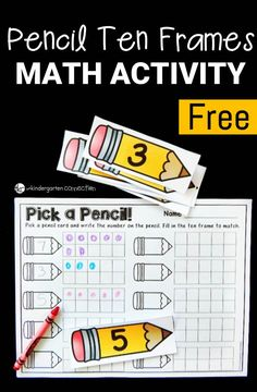 Pencil Ten Frame Activity This ten frame activity is a great math center for Pre-K or Kindergarten students to work on number recognition and counting! Numbers Kindergarten, Kindergarten Lesson Plans, Kindergarten Centers, Kindergarten Math Worksheets, Preschool Math, Math Classroom, Teaching Math, Math Math, Classroom Ideas