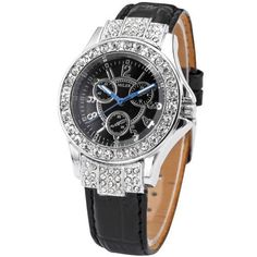 MILER Silver Tone Black Dial Bling Crystal Bracelet Quartz Lady Women Watch Gift MILER. $17.99