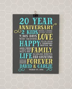 20th Anniversary, Any Year, Customized for Couple, Family, Birthdates, Family Anniversary Gift, Adoption, Family Blessing, 10 Year, 5 Year