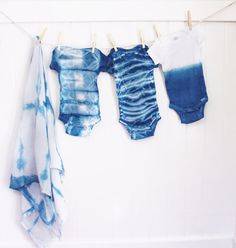 Shibori Baby Boy Onesie and Swaddling Cloth by WildBlueTextiles