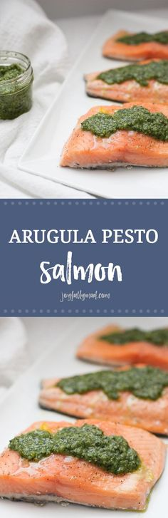 If you're looking for a quick dinner that won't lack in flavor, this kale arugula pesto salmon is it. Made with homemade pesto and baked for twenty minutes, it's a quick and flavorful dinner recipe. Baking salmon in the oven is a quick way to make it and