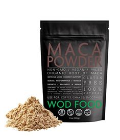 #Raw #Maca #Powder by #WOD Food- #Pure #Gelatinized #Maca #Root #Powder #Extract - Non-GMO #Superfood #WOD #Food Organic #Maca derives from a plant indigenous to the high Andes of Peru and has proved highly effective in combating anemia and chronic fatigue while promoting adrenal functionality. NATURAL MOOD ENHANCER: #Maca is still as an aphrodisiac and to enhance sexual performance; athletes utilize #maca to increase stamina and strength. Widely used among endurance athletes