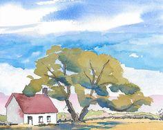 Original Painting, Watercolor Landscape, Watercolor and Ink Tree, Watercolor House, Landscape Painting, Watercolor Sky, Southwest Art