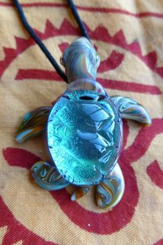 Dichroic Lampwork Glass Pendant Sea Turtle by Malamandala on Etsy