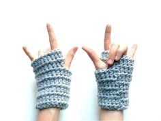Custom Crocheted Fingerless Gloves - These hand crocheted fingerless gloves are so soft and chunky + great for keeping your hands warm - I should know since mine are always cold! I enjoy wearing mine while bicycling, texting, typing at a chilly desk and crocheting outside.
