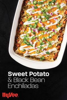 Looking for a plant-based, meatless meal with tons of flavor the whole will love? We were, too! That's why we developed this nutritious take on vegetarian enchiladas using one of our favorite combos: sweet potatoes and black beans. Find everything you need for this weeknight meal at your local Hy-Vee, or shop online at Hy-Vee.com.