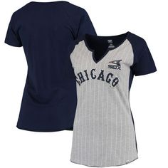 9b537287c Chicago White Sox Majestic Women s Cooperstown Collection From the Stretch  Pinstripe Notch Neck T-Shirt - Gray Navy