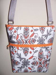 Mod Floral Orange Grey Bright White Small by BHipBags on Etsy, $32.00