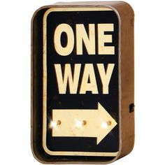 Dot & Bo One Way LED Wall Sign ($47) ❤ liked on Polyvore featuring home, home decor, wall art, words, arrow sign, word wall art, home wall decor, brown wall art and arrow home decor
