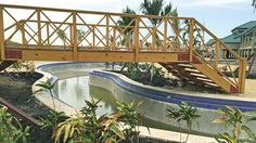 A footbridge over part of the pool at Amber Cove. Photo Credit: Tom Stieghorst