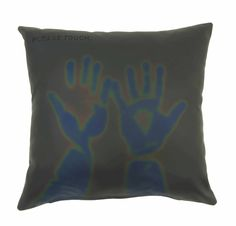 Thermosensitive Pillows--  (black to green / blue, red to violet, burgundy to purple). Simply place your hand or body on the pillows and your natural heat will cause the thermosensitive layers to react. Only the touched area will temporarily change color; the original look will reappear within one minute.