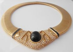 Ciner Crystal Collar Necklace 1980's Wide by Libbysmomsvintage