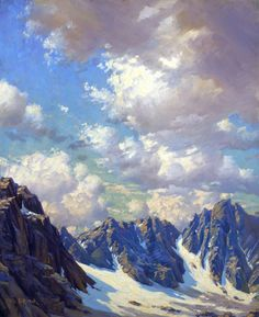 Paul Grimm (1891-1974) Glacier Palisades, High Sierra Oil on canvas, 30 x 25 in. The Irvine Museum Watercolor Landscape, Landscape Art, Cloud Art, Sky And Clouds, Nature Paintings, Winter Landscape, Pictures To Paint, Beautiful Artwork, Art Oil