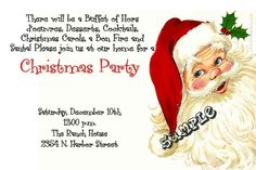Santa Claus Christmas Party Invitations - Get these cards RIGHT NOW. Design yourself online, download and print IMMEDIATELY! Or choose my printing services. No software download is required. Free to try!