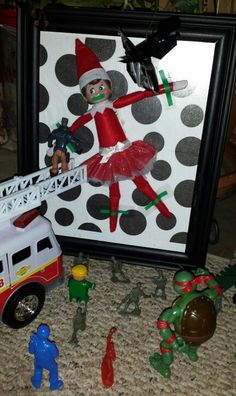 Elf on the shelf kidnapped by bad toys wanting Santa to promise to bring them everything on their christmas lists.