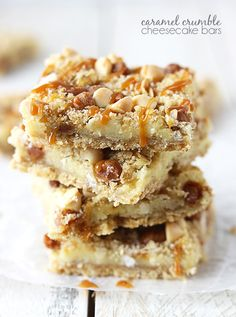 Simple and tasty cheesecake bars topped with a caramel crunch and white chocolate chip crumble!