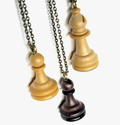 Upcycled DIY crafts, handmade design jewellery, beige, brown chess piece pendant.