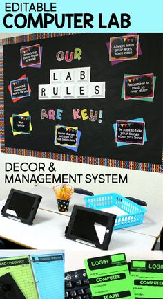This computer lab décor/management system includes everything you need to set up and manage an organized and cohesive technology classroom or computer lab. With bulletin board displays for computer sh Computer Lab Rules, Computer Lab Decor, Computer Lab Classroom, Computer Teacher, Computer Lessons, Computer Class, Science Classroom, School Classroom, Classroom Decor