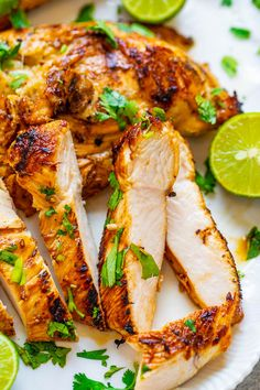 Grilled Lime Cilantro Chicken EASY ready in 10 minutes and the chicken is so TENDER juicy and full of Mexican-inspired flavor! Put this HEALTHY chicken recipe on your summer menu rotation and itll be a hit with everyone! Easy Cooking, Cooking Recipes, Cooking Ham, Cooking Fish, Cooking Gadgets, Cooking Ideas, Healthy Cooking, Cilantro Chicken, Cooked Chicken Recipes