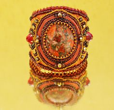Tangerine  Bead Embroidery bracelet by Tamarchi on Etsy