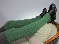 Boots Sock Tall Leg Warmers Long Thigh High Cable Knit Tights Thick Over the Knee Socks Seafoam Green A1362