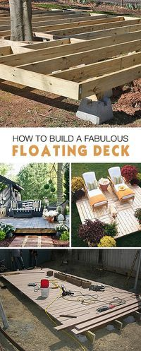 Garden Design Videos How to Build a Fabulous Floating Deck Ideas tips and tutorials!Garden Design Videos How to Build a Fabulous Floating Deck Ideas tips and tutorials! Backyard Projects, Outdoor Projects, Backyard Patio, Backyard Landscaping, Backyard Ideas, Patio Decks, Trex Decking, Landscaping Ideas, Garden Decking Ideas
