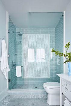 Glass Standup Shower with blue subway tile - Sarah Richardson